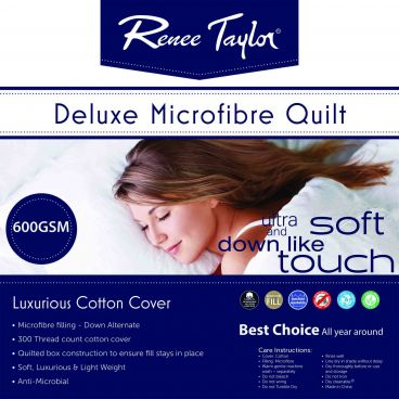 Renee Taylor 600 GSM Deluxe Quilt with Cotton Cover premium Microfiber filling