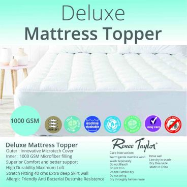 Renee Taylor 1000GSM Deluxe Mattress Topper with soft cover and squared quilting