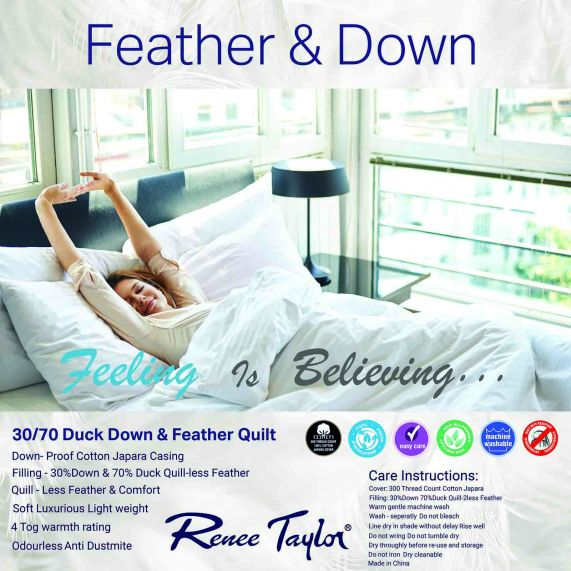 Renee Taylor 400 GSM 70/% Duck Feather and 30/% Down Quilt